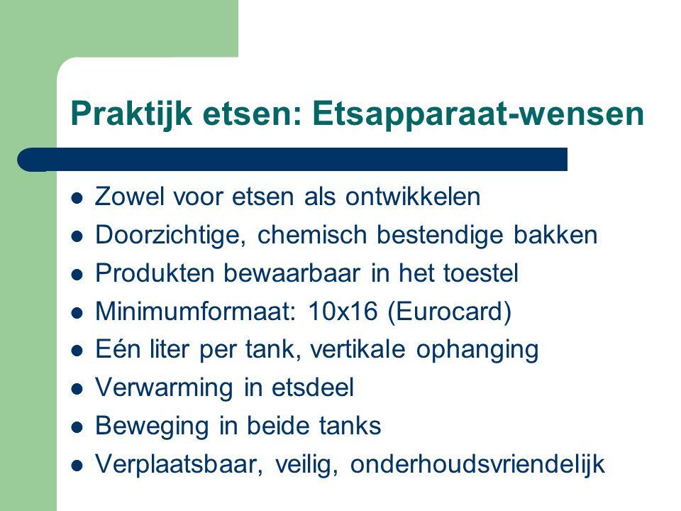 Praktijk etsen: Etsapparaat-wensen ZZowel voor etsen als ontwikkelen DDoorzichtige, chemisch bestendige bakken PProdukten bewaarbaar in het toestel MMinimumformaat: 10x16 (Eurocard) EEén liter per tank, vertikale ophanging VVerwarming in etsdeel BBeweging in beide tanks VVerplaatsbaar, veilig, onderhoudsvriendelijk