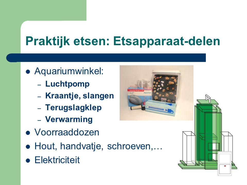 Praktijk etsen: Etsapparaat-delen AAquariumwinkel: –L–Luchtpomp –K–Kraantje, slangen –T–Terugslagklep –V–Verwarming VVoorraaddozen HHout, handvatje, schroeven,… EElektriciteit