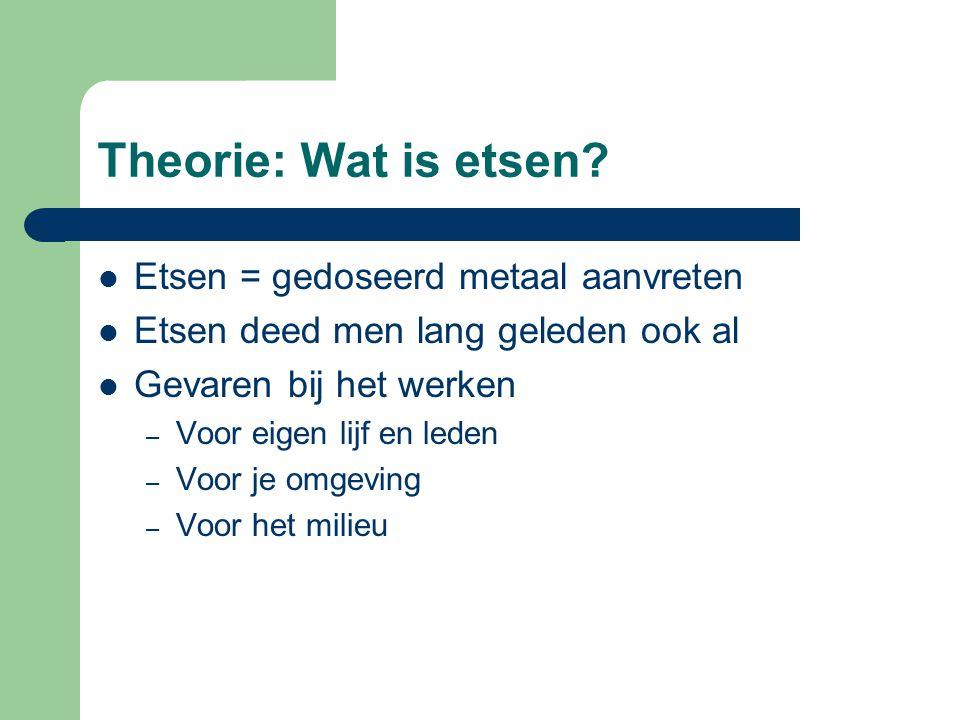 Theorie: Wat is etsen? EEtsen = gedoseerd metaal aanvreten EEtsen deed men lang geleden ook al GGevaren bij het werken –V–Voor eigen lijf en led