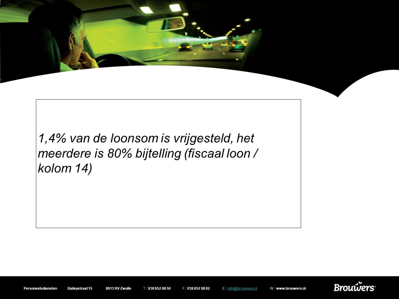 Personeelsdiensten Baileystraat 15 8013 RV Zwolle T / 038 852 88 50 F / 038 852 88 02 E / info@brouwers.nl W / www.brouwers.nlinfo@brouwers.nl 1,4% van de loonsom is vrijgesteld, het meerdere is 80% bijtelling (fiscaal loon / kolom 14)