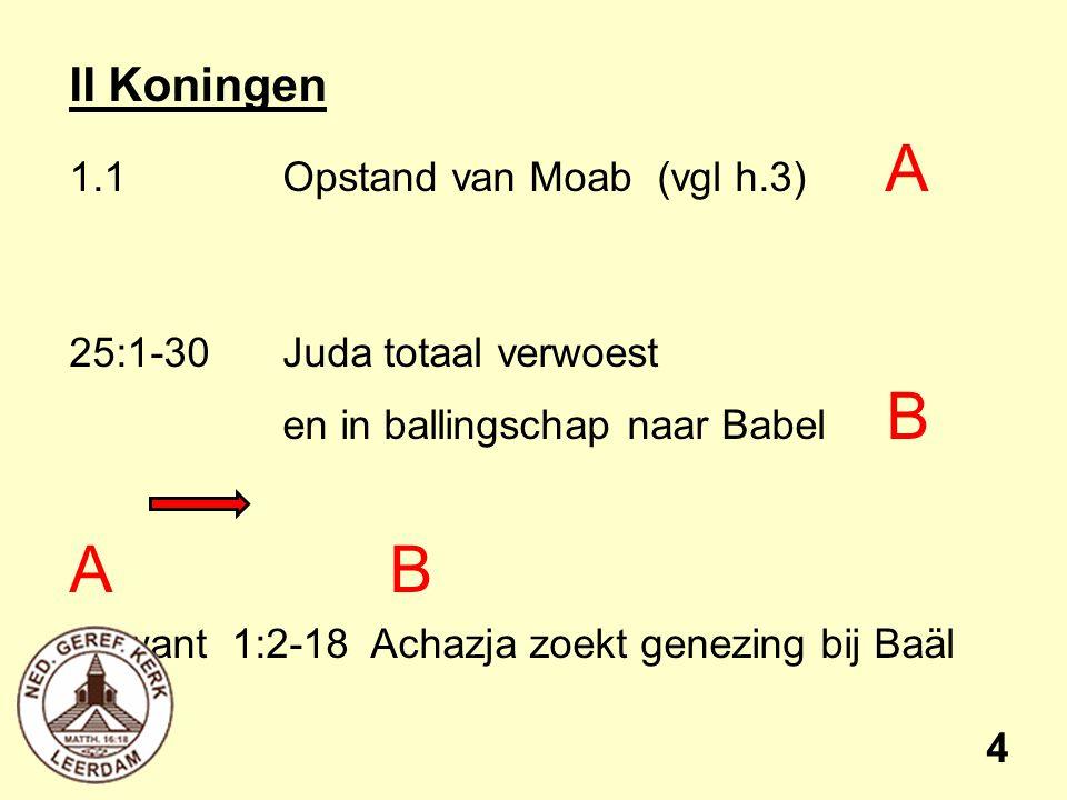 II Koningen 1.1Opstand van Moab (vgl h.3) A 25:1-30Juda totaal verwoest en in ballingschap naar Babel B AB want 1:2-18 Achazja zoekt genezing bij Baäl 4