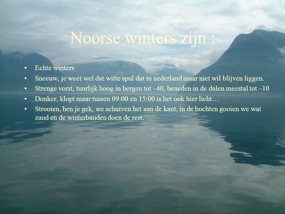 Noorse winters zijn : •Echte winters •Sneeuw, je weet wel dat witte spul dat in nederland maar niet wil blijven liggen. •Strenge vorst, tuurlijk hoog