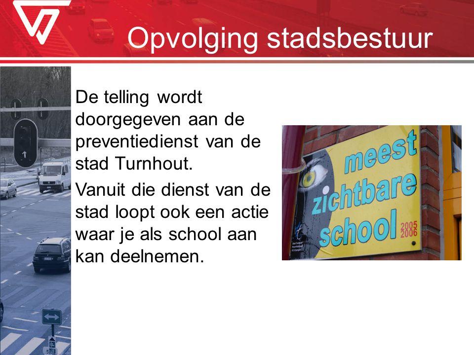 Opvolging stadsbestuur De telling wordt doorgegeven aan de preventiedienst van de stad Turnhout. Vanuit die dienst van de stad loopt ook een actie waa