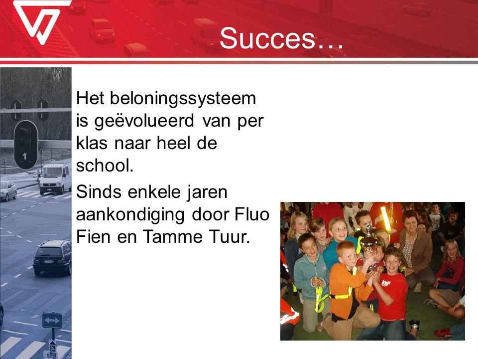 Succes… Het beloningssysteem is geëvolueerd van per klas naar heel de school. Sinds enkele jaren aankondiging door Fluo Fien en Tamme Tuur.