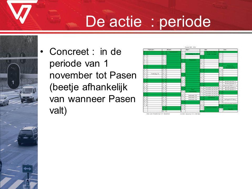 De actie : periode •Concreet : in de periode van 1 november tot Pasen (beetje afhankelijk van wanneer Pasen valt)