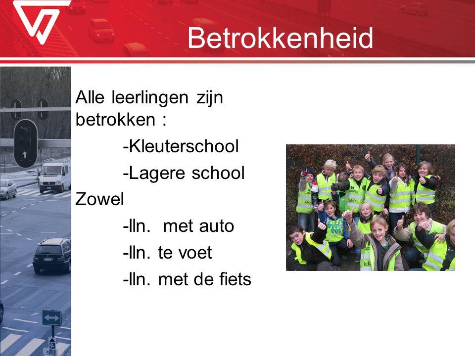 Betrokkenheid Alle leerlingen zijn betrokken : -Kleuterschool -Lagere school Zowel -lln. met auto -lln. te voet -lln. met de fiets