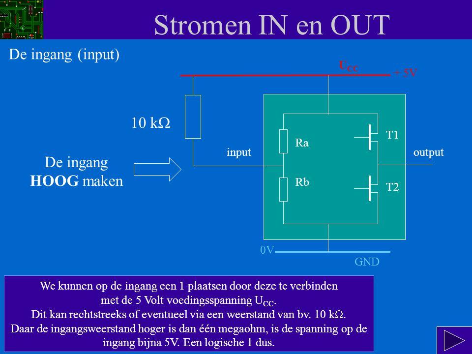 Stromen IN en OUT input Ra Rb T1 T2 output Ook hier gaan we weer uit van het vervangingsschema van de in- en uitgang.