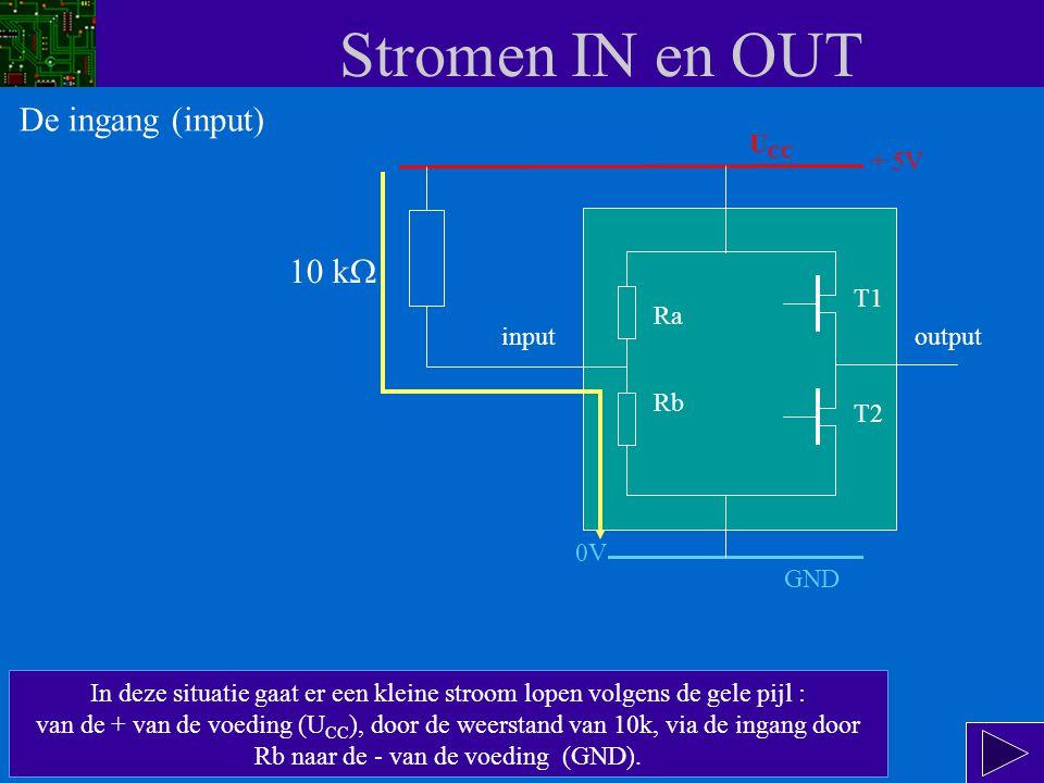 Stromen IN en OUT U CC input Ra Rb T1 T2 output + 5V We kunnen op de ingang een 1 plaatsen door deze te verbinden met de 5 Volt voedingsspanning U CC.