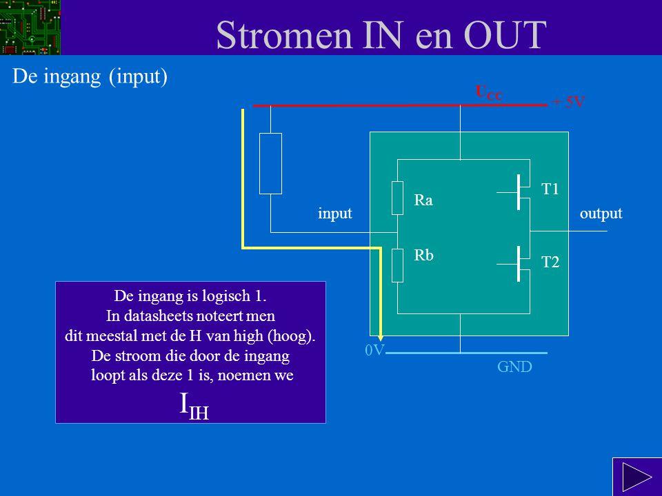Stromen IN en OUT input Ra Rb T1 T2 output In deze situatie gaat er een kleine stroom lopen volgens de gele pijl : van de + van de voeding (U CC ), door de weerstand van 10k, via de ingang door Rb naar de - van de voeding (GND).
