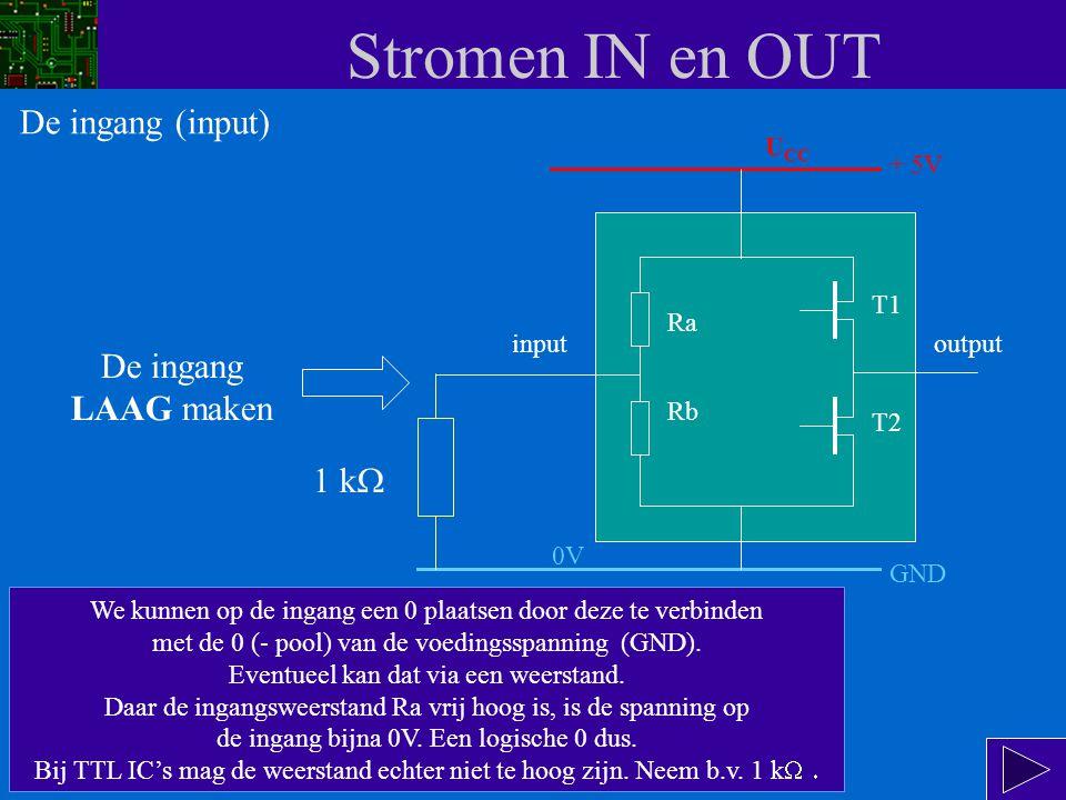 Stromen IN en OUT input Ra Rb T1 T2 output I IH De grootte van I IH wordt hoofdzakelijk bepaald door de waarde van Rb.