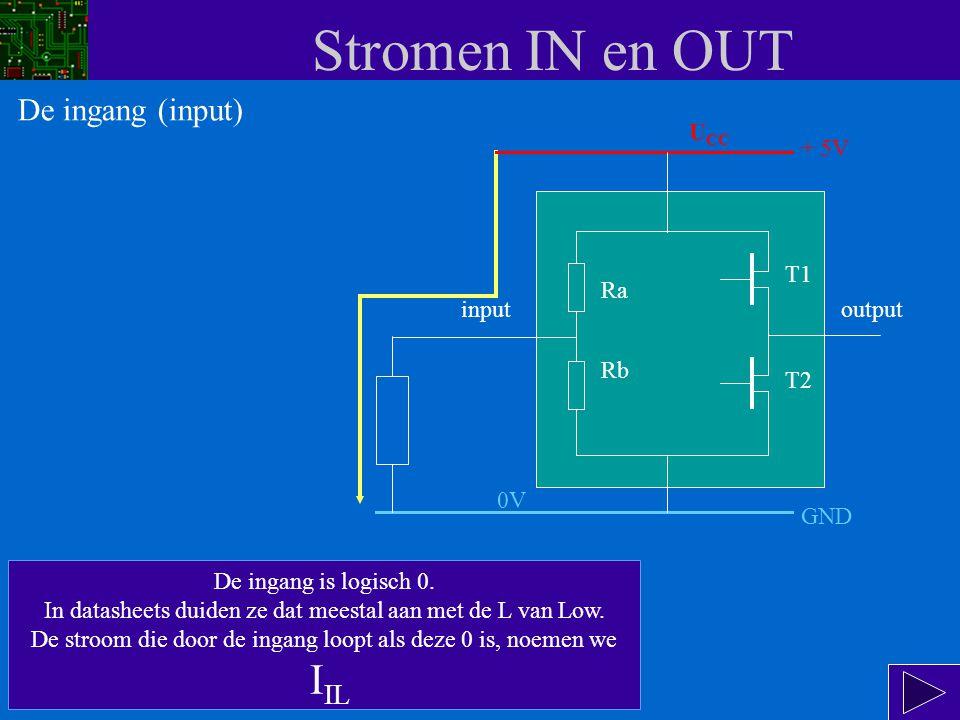 Stromen IN en OUT In deze situatie gaat er een kleine stroom lopen volgens de gele pijl : van de + van de voeding (U CC ) via Ra en via de weerstand van 1 k  naar de massa (GND = 0 V).