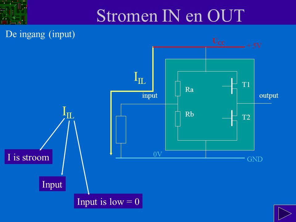 Stromen IN en OUT De ingang is logisch 0.In datasheets duiden ze dat meestal aan met de L van Low.