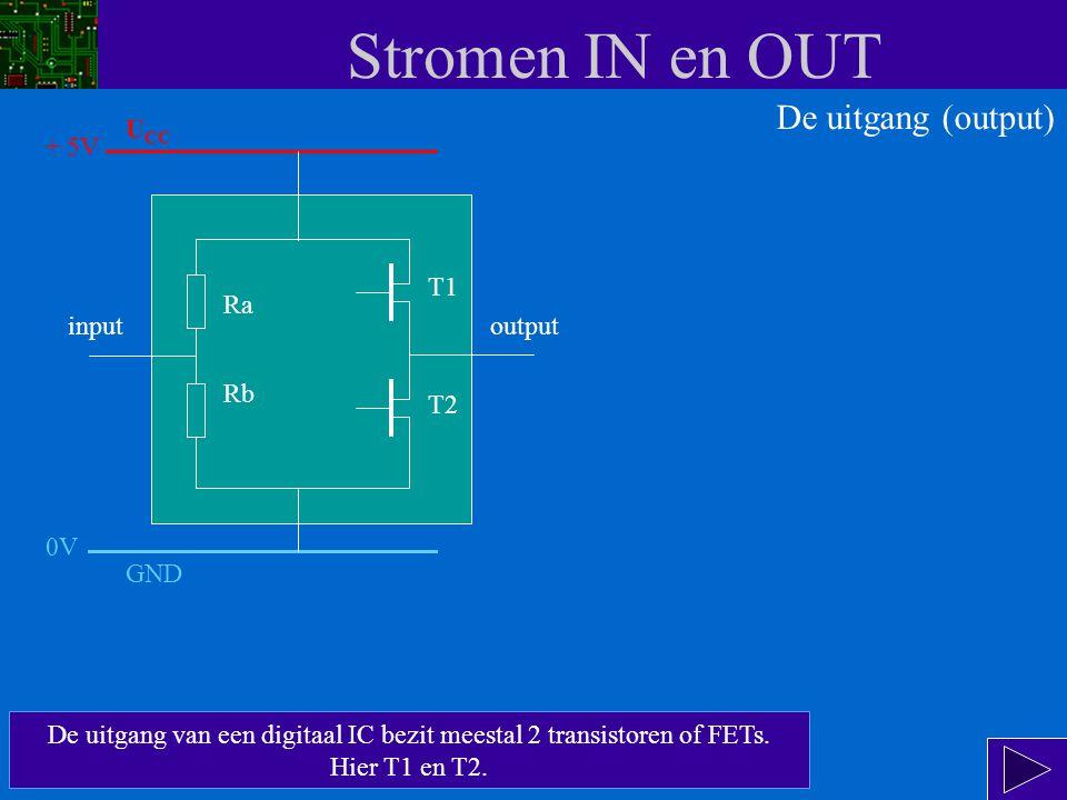 Stromen IN en OUT input Ra Rb T1 T2 output De uitgang (output) Nu gaan we de uitgang bekijken.