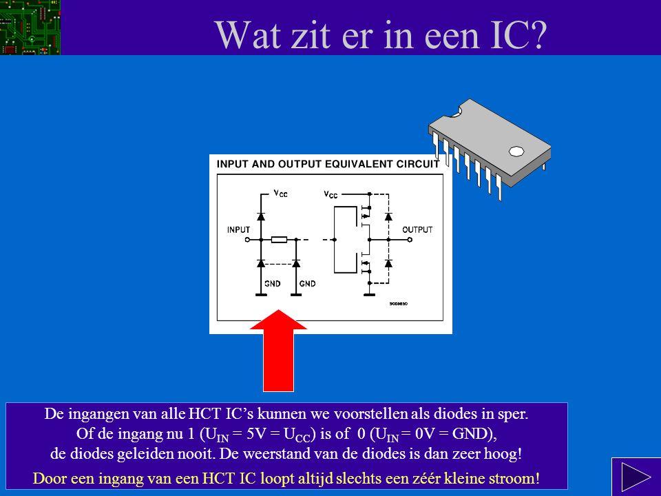 Wat zit er in een IC.In een digitaal IC zitten transistoren (TTL logic) of FETs (HCT logic).