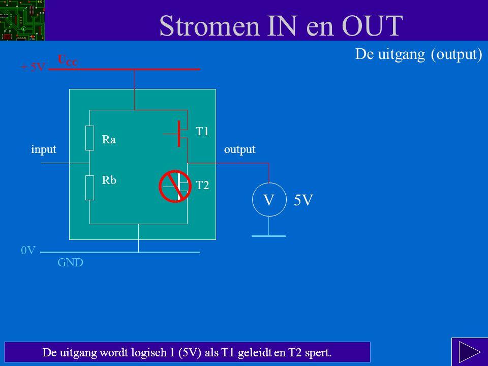 Stromen IN en OUT De transistoren werken als schakelaars.