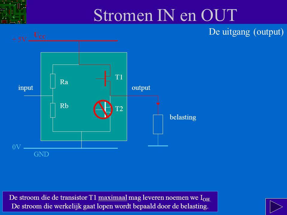 Stromen IN en OUT De uitgang wordt logisch 1 (5V) als T1 geleidt en T2 spert.