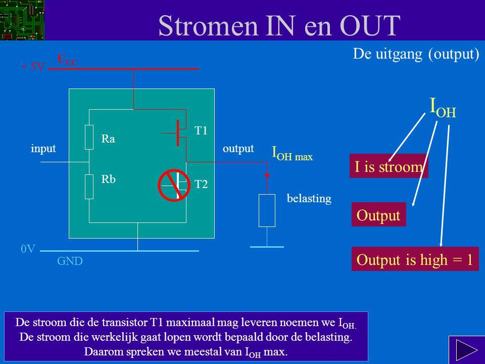 Stromen IN en OUT De stroom die de transistor T1 maximaal mag leveren noemen we I OH.