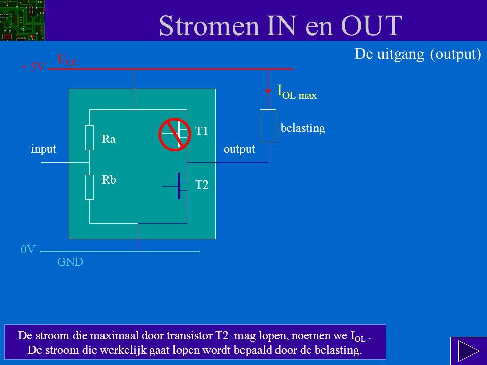 Stromen IN en OUT De uitgang wordt logisch 0 (0 V) als T2 geleidt en T1 spert.