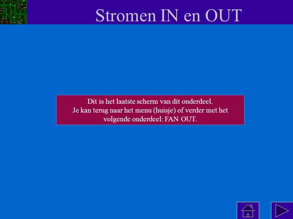 Stromen IN en OUT T1 T2 output I OL max = 8 mA T1 T2 output belasting I OH max = 400  A OUT = 0 OUT = 1 belasting De maximaal toelaatbare stromen verschillen per logische familie .