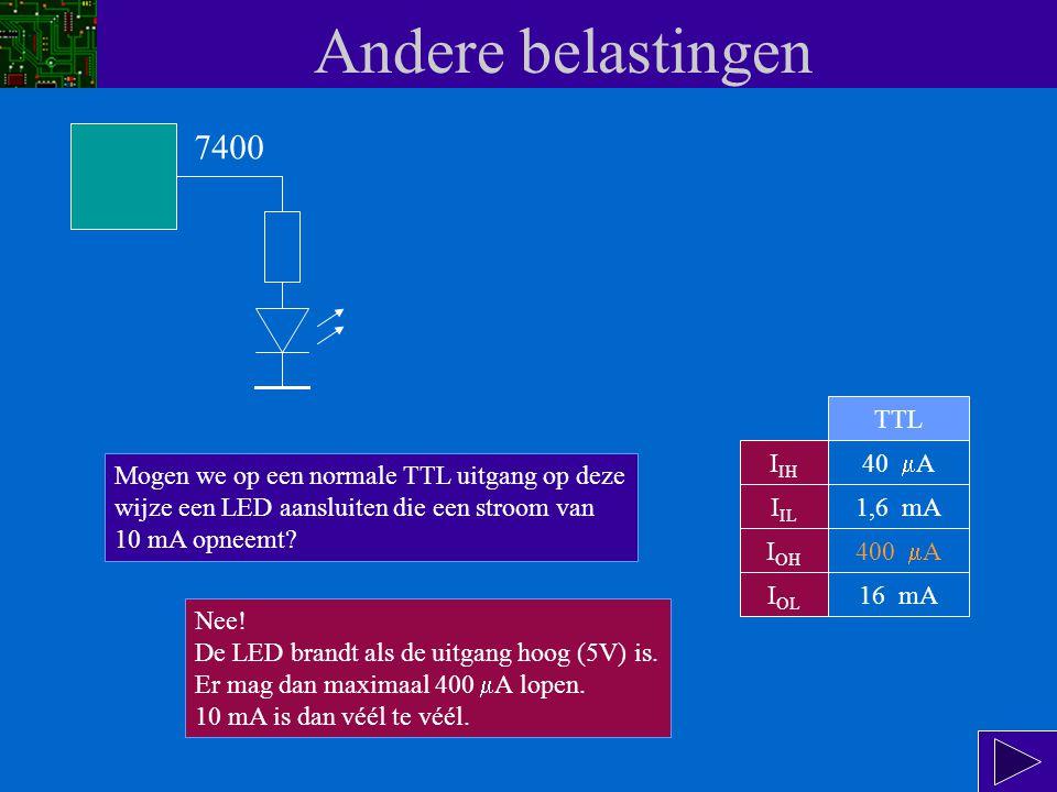 Andere belastingen I IH I IL I OH I OL 40  A 1,6 mA 400  A 16 mA TTL 7400 Mogen we op een normale TTL uitgang op deze wijze een LED aansluiten die een stroom van 10 mA opneemt.