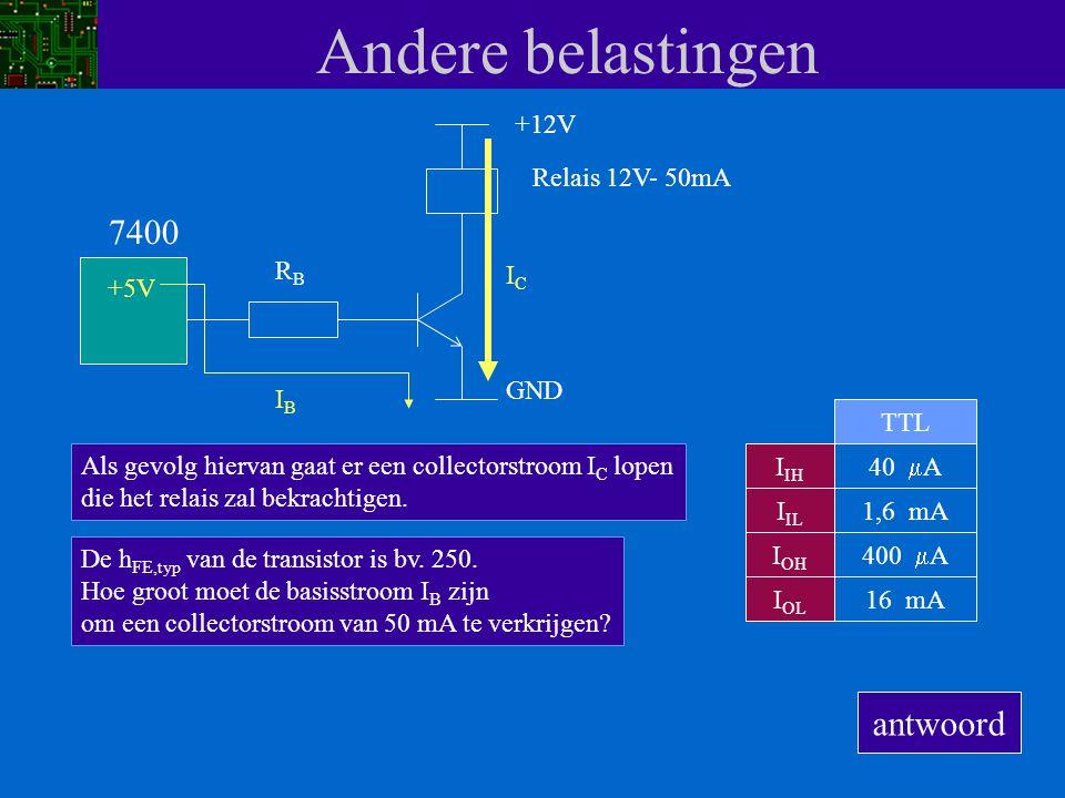 Andere belastingen I IH I IL I OH I OL 40  A 1,6 mA 400  A 16 mA TTL 7400 Met een transistor kunnen we dit probleem oplossen.