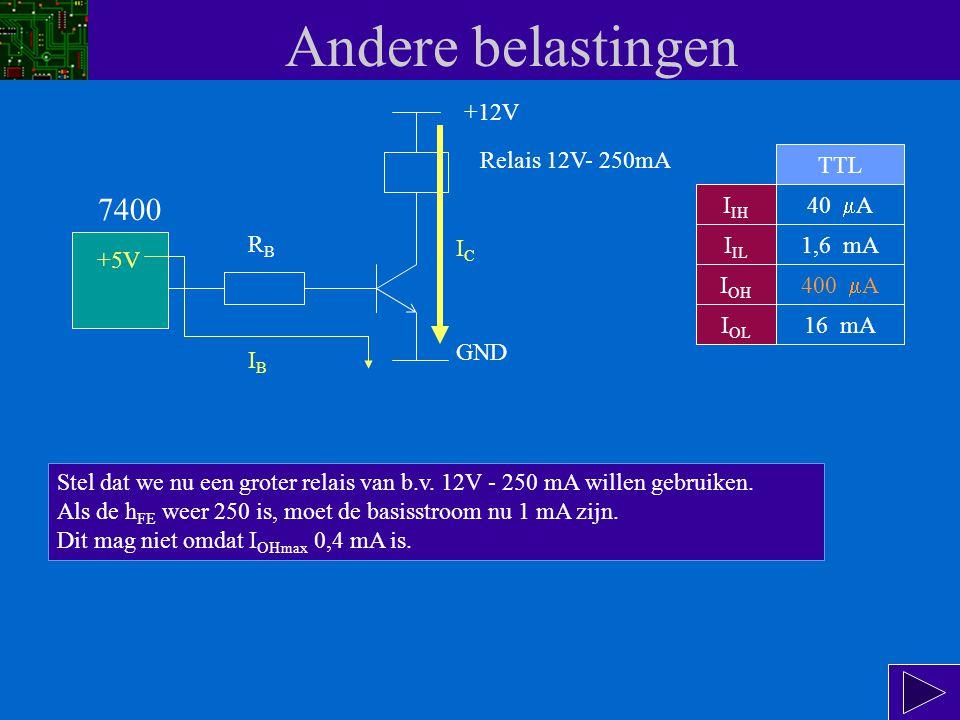 Andere belastingen 7400 Relais 12V- 50mA +12V GND +5V Over de weerstand staat een spanning van 5 - U BE = 5 - 0,7 = 4,3 V.