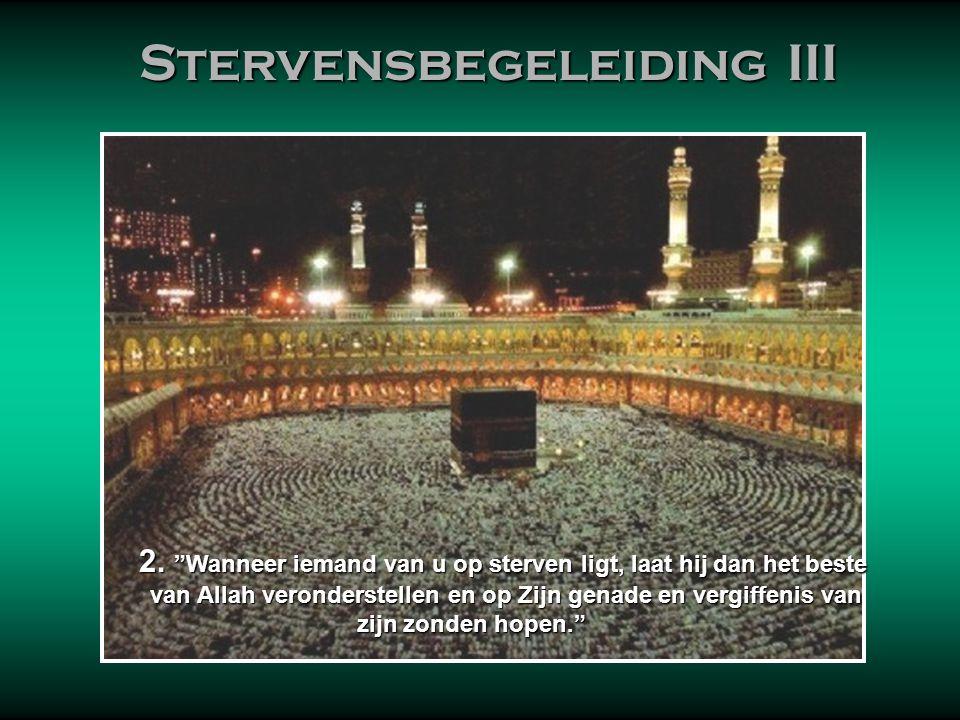 Stervensbegeleiding III Stervensbegeleiding III 'Naar Mekka' wil in Nederland zeggen 'naar het zuidoosten'. Dat is tevens de gebedsrichting. In Nederl