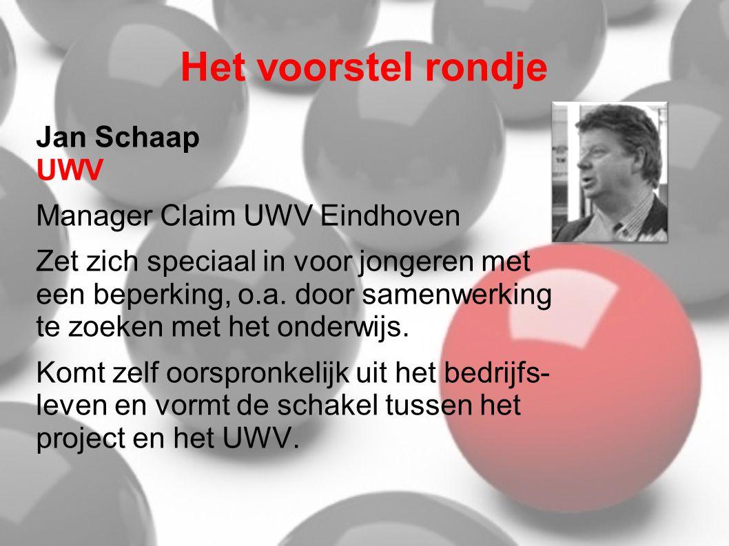 Het voorstel rondje Jan Schaap UWV Manager Claim UWV Eindhoven Zet zich speciaal in voor jongeren met een beperking, o.a. door samenwerking te zoeken