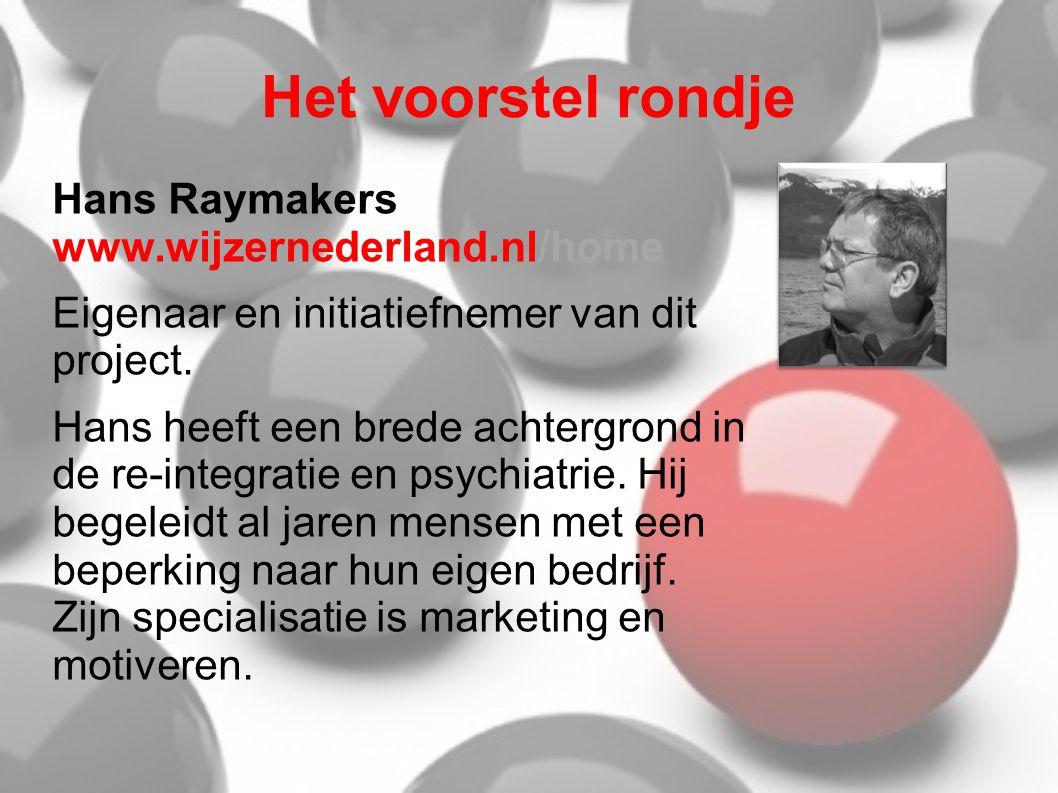 Het voorstel rondje Hans Raymakers www.wijzernederland.nl/home Eigenaar en initiatiefnemer van dit project. Hans heeft een brede achtergrond in de re-