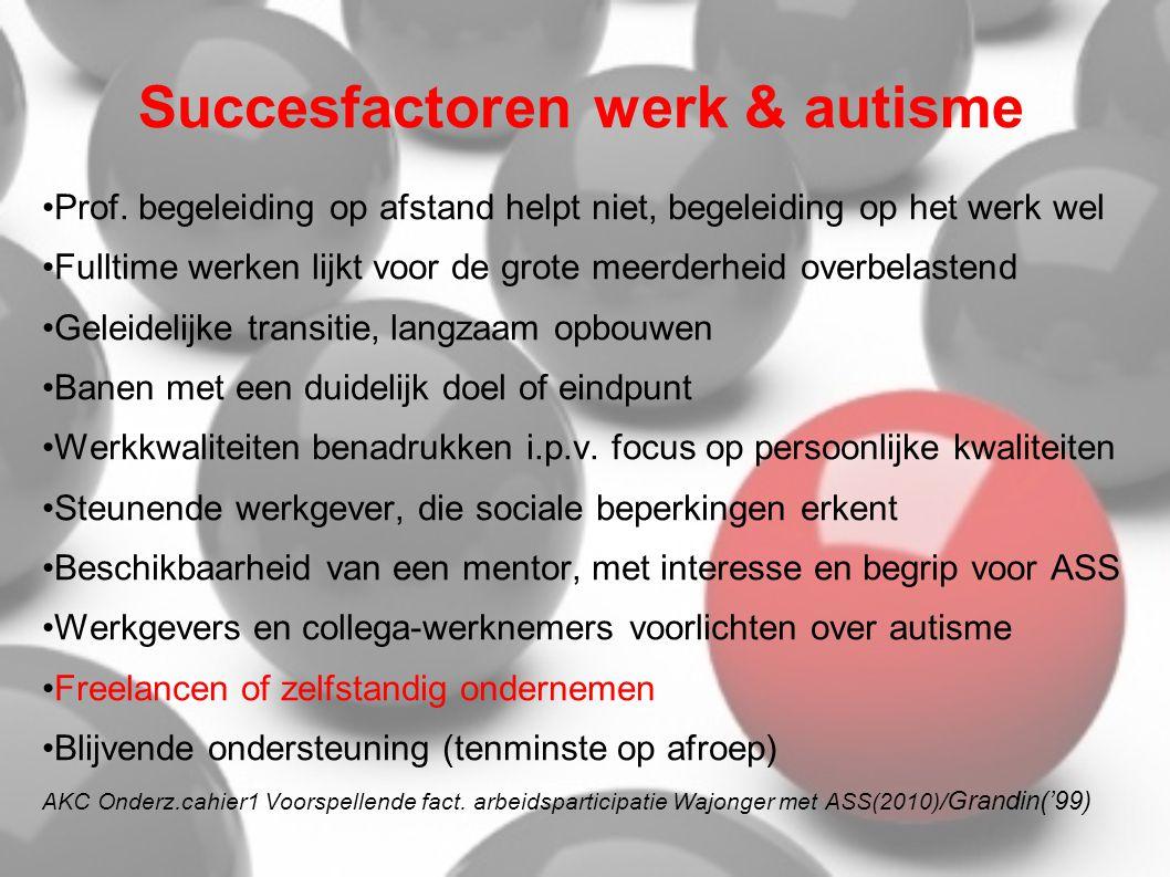 Succesfactoren werk & autisme •Prof. begeleiding op afstand helpt niet, begeleiding op het werk wel •Fulltime werken lijkt voor de grote meerderheid o