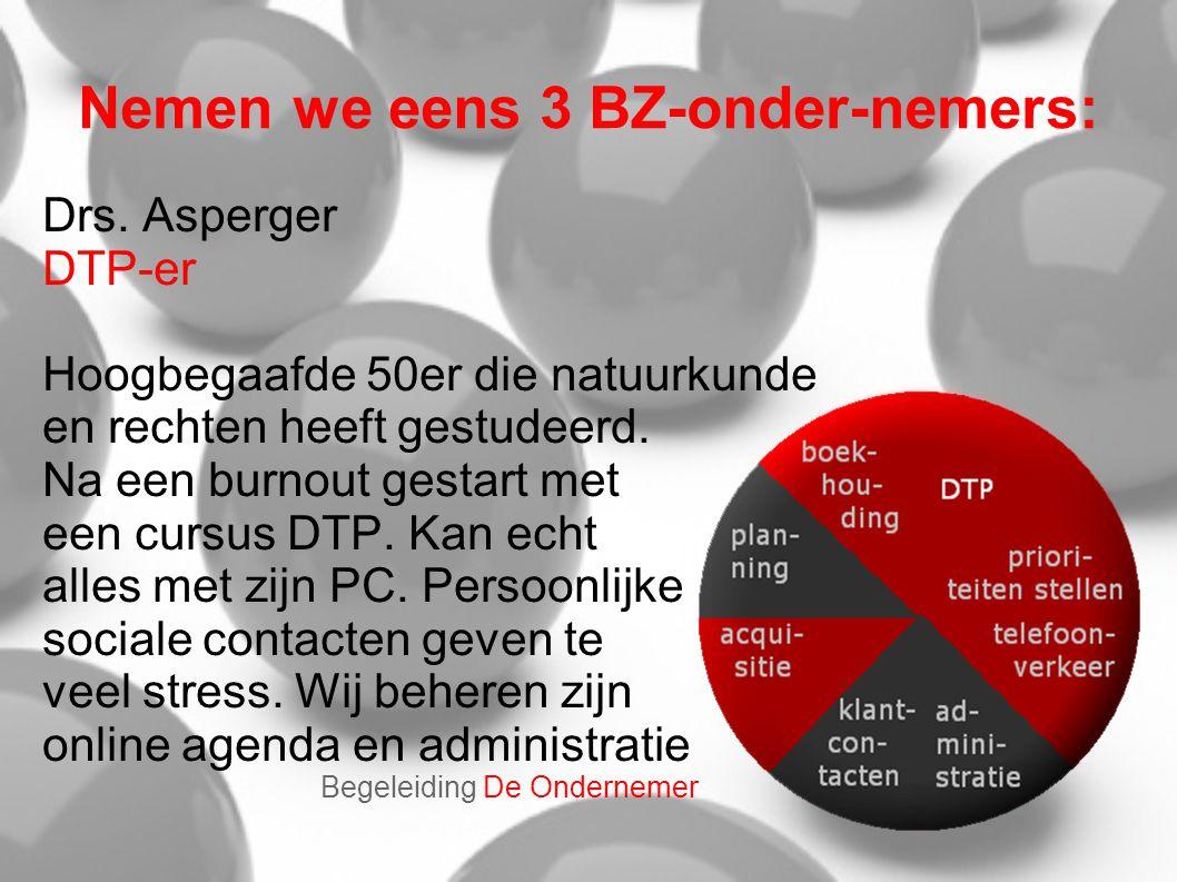 Nemen we eens 3 BZ-onder-nemers: Drs. Asperger DTP-er Hoogbegaafde 50er die natuurkunde en rechten heeft gestudeerd. Na een burnout gestart met een cu
