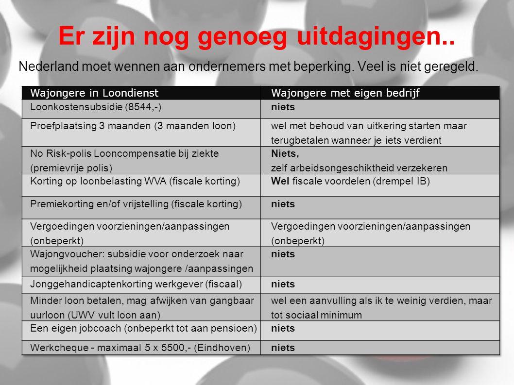 Er zijn nog genoeg uitdagingen.. Nederland moet wennen aan ondernemers met beperking. Veel is niet geregeld.