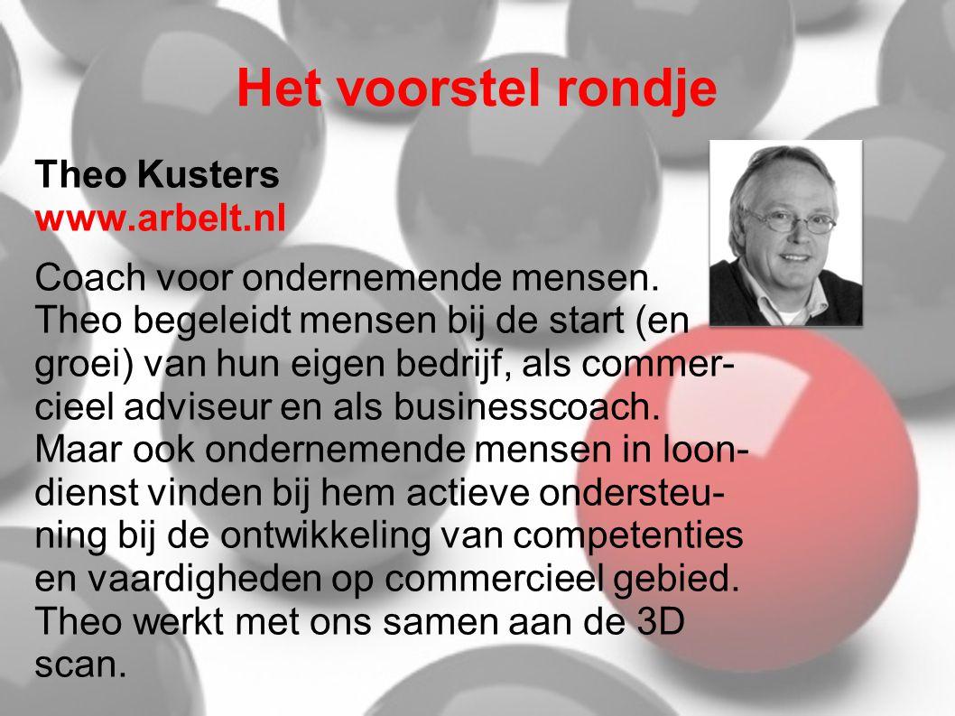 Het voorstel rondje Theo Kusters www.arbelt.nl Coach voor ondernemende mensen. Theo begeleidt mensen bij de start (en groei) van hun eigen bedrijf, al