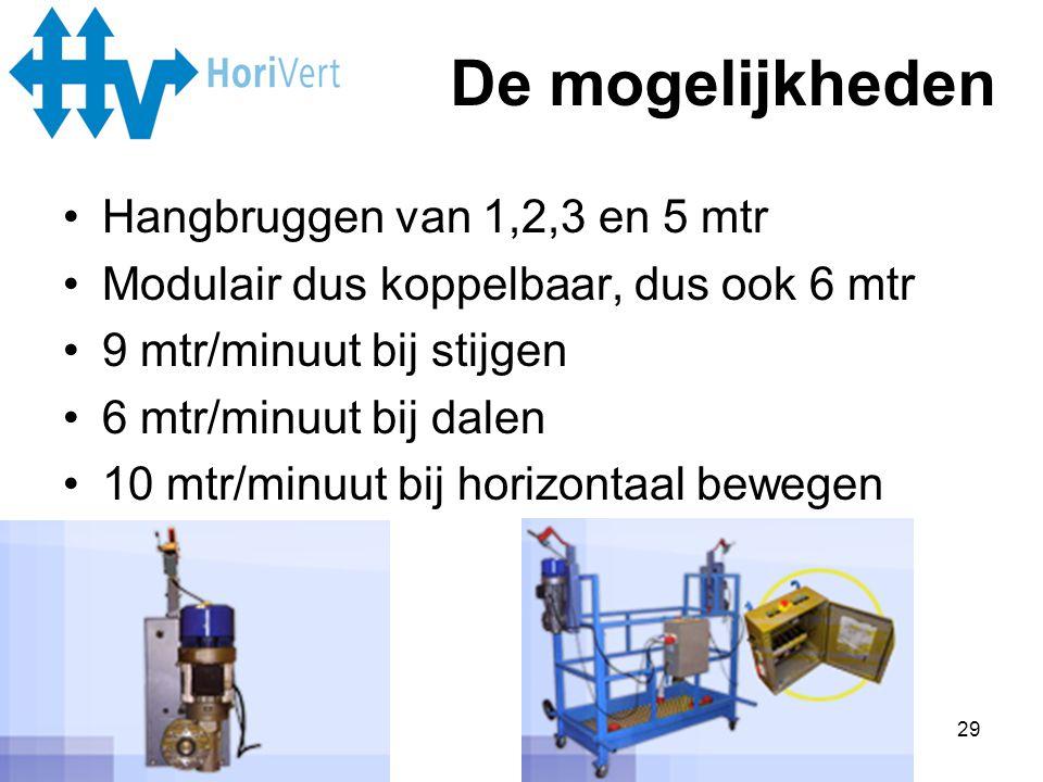 29 •Hangbruggen van 1,2,3 en 5 mtr •Modulair dus koppelbaar, dus ook 6 mtr •9 mtr/minuut bij stijgen •6 mtr/minuut bij dalen •10 mtr/minuut bij horizo