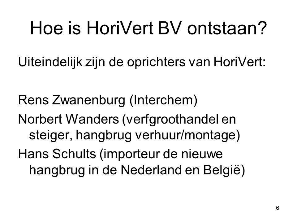 6 Uiteindelijk zijn de oprichters van HoriVert: Rens Zwanenburg (Interchem) Norbert Wanders (verfgroothandel en steiger, hangbrug verhuur/montage) Han