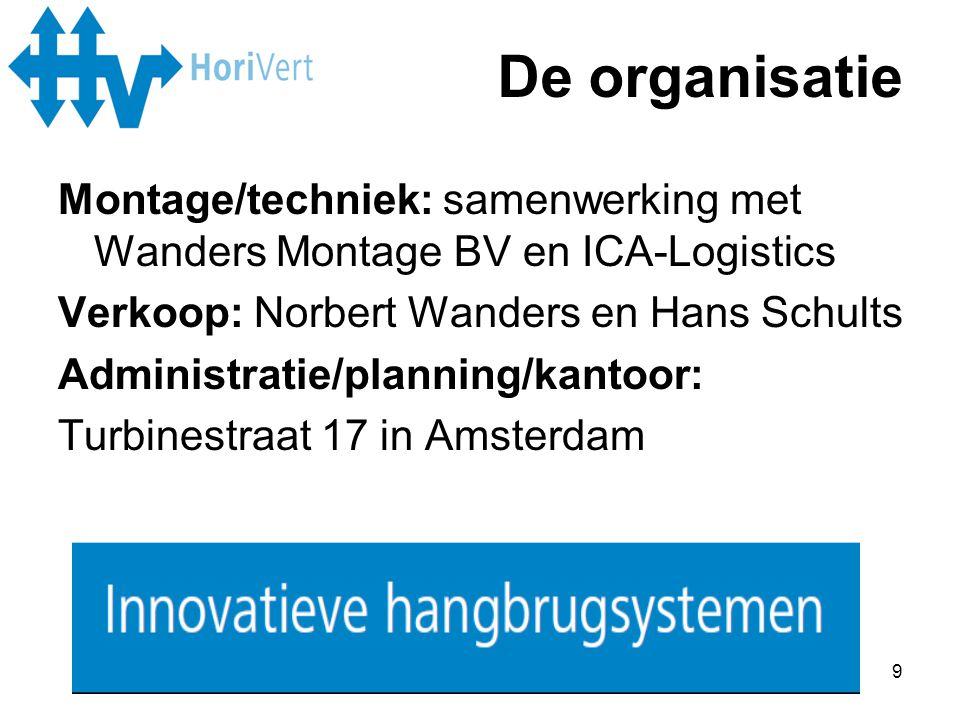9 Montage/techniek: samenwerking met Wanders Montage BV en ICA-Logistics Verkoop: Norbert Wanders en Hans Schults Administratie/planning/kantoor: Turb