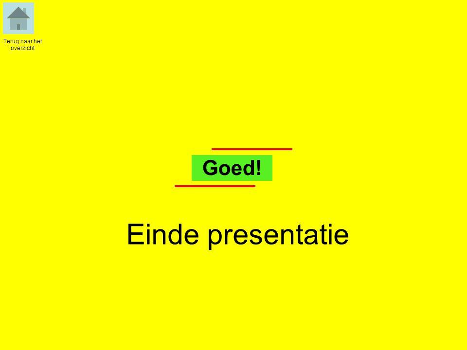 Einde presentatie Terug naar het overzicht Goed!