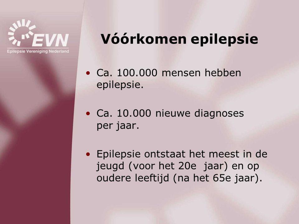Vóórkomen epilepsie •Ca. 100.000 mensen hebben epilepsie. •Ca. 10.000 nieuwe diagnoses per jaar. •Epilepsie ontstaat het meest in de jeugd (voor het 2