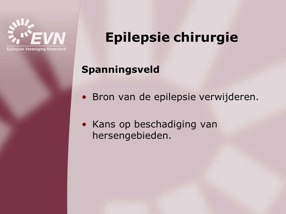 Epilepsie chirurgie Spanningsveld •Bron van de epilepsie verwijderen. •Kans op beschadiging van hersengebieden.