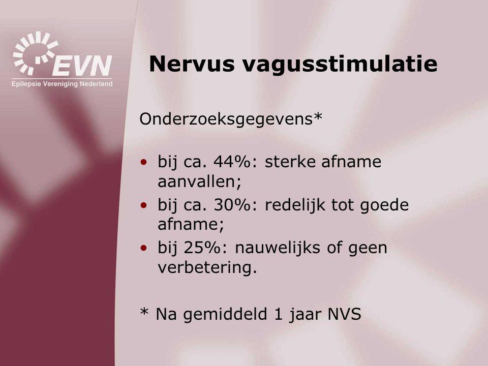 Nervus vagusstimulatie Onderzoeksgegevens* •bij ca. 44%: sterke afname aanvallen; •bij ca. 30%: redelijk tot goede afname; •bij 25%: nauwelijks of gee