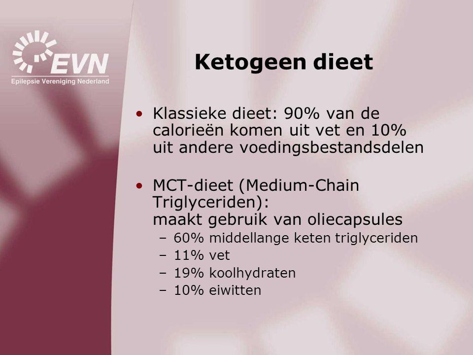 Ketogeen dieet •Klassieke dieet: 90% van de calorieën komen uit vet en 10% uit andere voedingsbestandsdelen •MCT-dieet (Medium-Chain Triglyceriden): m