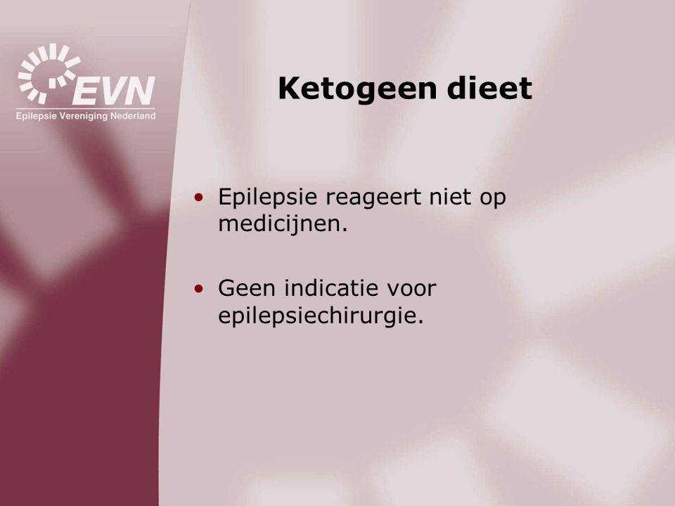 Ketogeen dieet •Epilepsie reageert niet op medicijnen. •Geen indicatie voor epilepsiechirurgie.