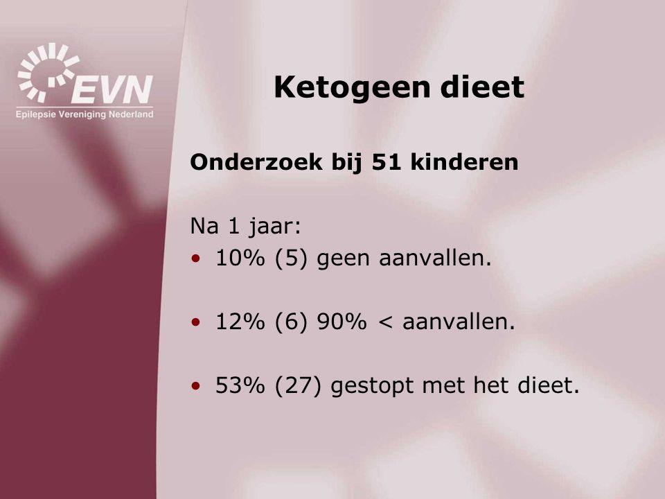 Ketogeen dieet Onderzoek bij 51 kinderen Na 1 jaar: •10% (5) geen aanvallen. •12% (6) 90% < aanvallen. •53% (27) gestopt met het dieet.
