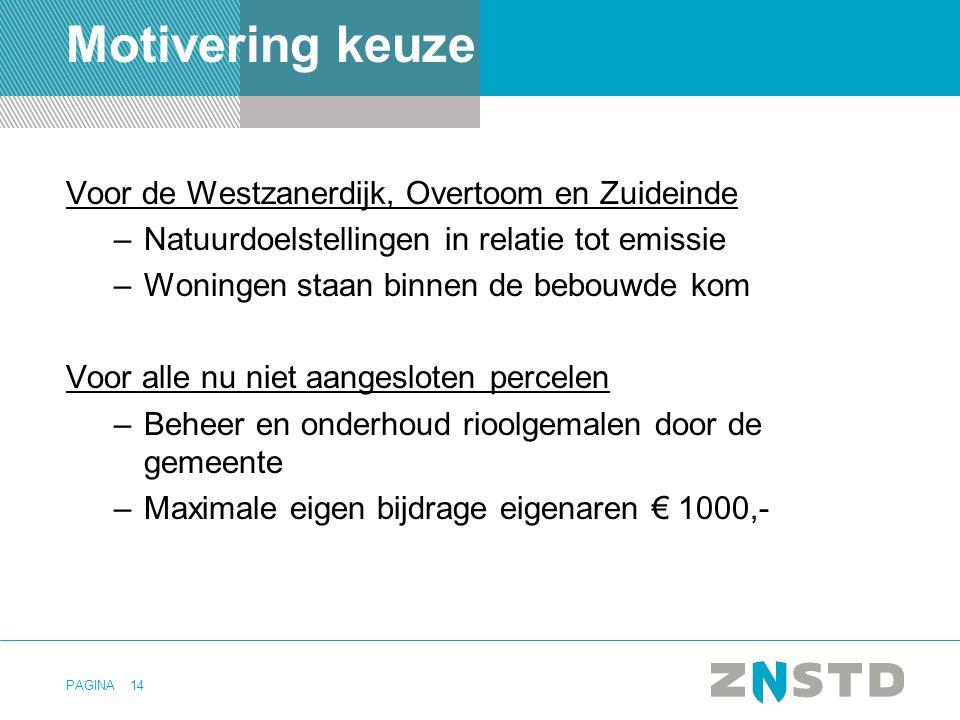 PAGINA14 Motivering keuze Voor de Westzanerdijk, Overtoom en Zuideinde –Natuurdoelstellingen in relatie tot emissie –Woningen staan binnen de bebouwde