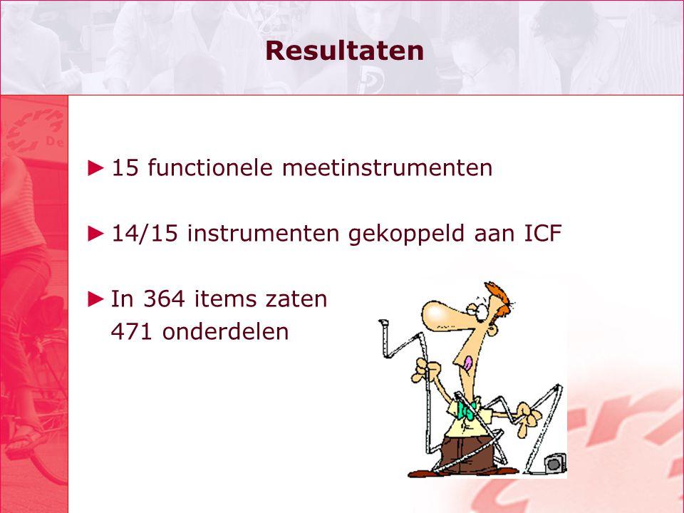 Resultaten ► 15 functionele meetinstrumenten ► 14/15 instrumenten gekoppeld aan ICF ► In 364 items zaten 471 onderdelen
