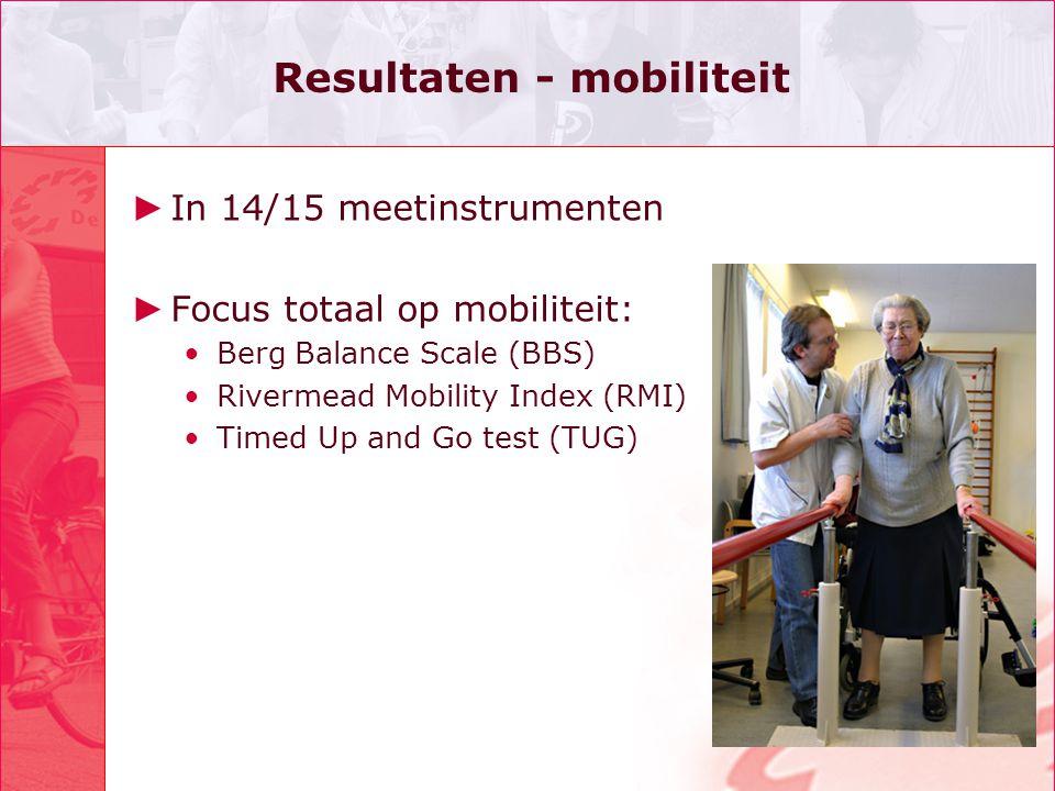 Resultaten - mobiliteit ► In 14/15 meetinstrumenten ► Focus totaal op mobiliteit: •Berg Balance Scale (BBS) •Rivermead Mobility Index (RMI) •Timed Up