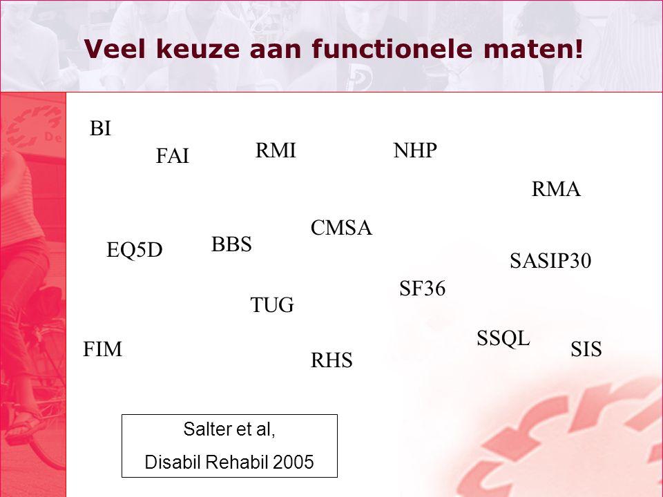BI BBS RMI EQ5D FIM CMSA TUG NHP SSQL RHS FAI SASIP30 SIS RMA SF36 Veel keuze aan functionele maten! Salter et al, Disabil Rehabil 2005