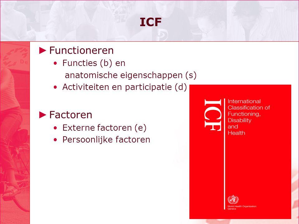 ICF ► Functioneren •Functies (b) en anatomische eigenschappen (s) •Activiteiten en participatie (d) ► Factoren •Externe factoren (e) •Persoonlijke factoren