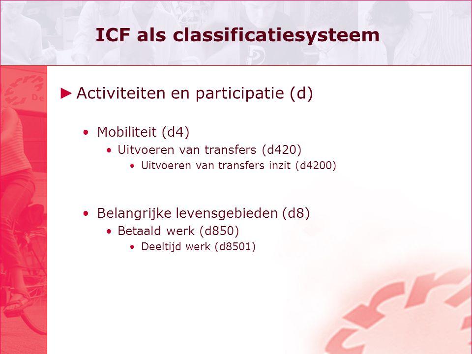ICF als classificatiesysteem ► Activiteiten en participatie (d) •Mobiliteit (d4) •Uitvoeren van transfers (d420) •Uitvoeren van transfers inzit (d4200) •Belangrijke levensgebieden (d8) •Betaald werk (d850) •Deeltijd werk (d8501)