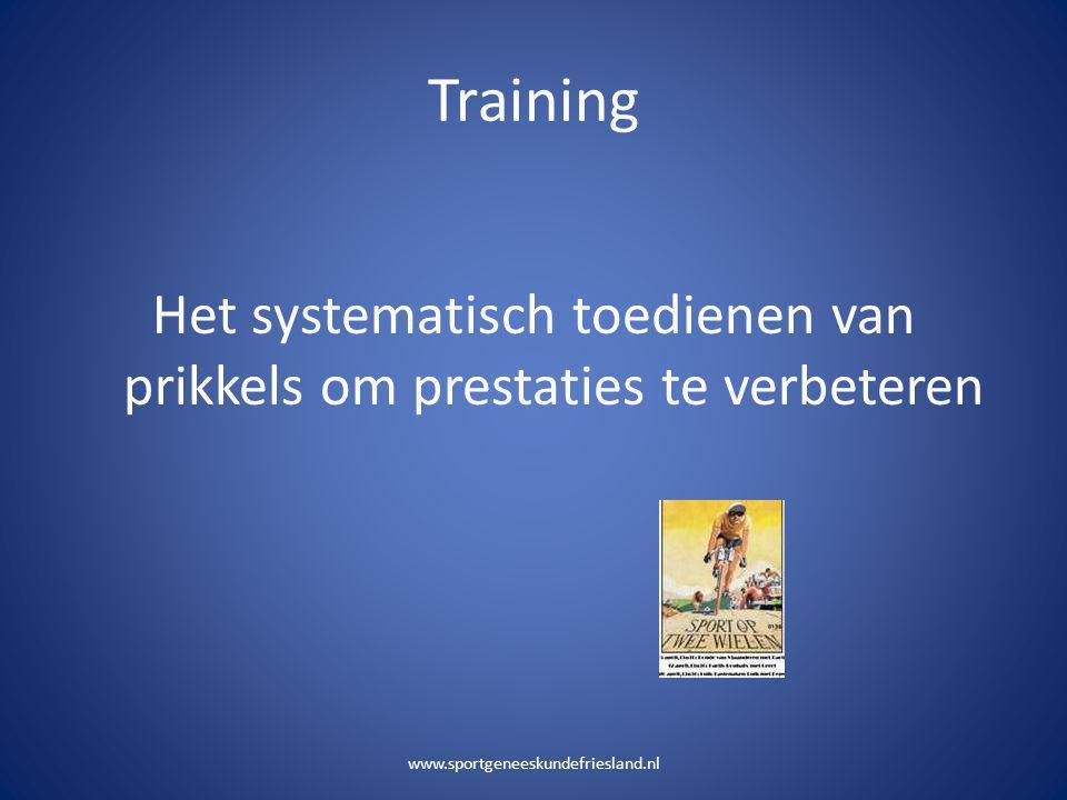 Training Het systematisch toedienen van prikkels om prestaties te verbeteren www.sportgeneeskundefriesland.nl